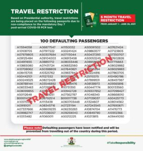 Nigeria grounds 100 travellers for six months for refusing to take coronavirus test