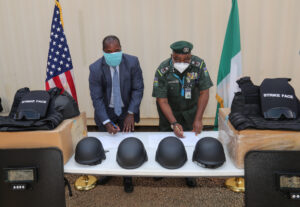 US embassy donates equipment to Nigerian mobile police force officers serving in Borno State