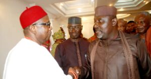 Rochas and traditional ruler he deposed while in office nearly come to blows at Owerri airport