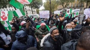 Demonstrators storm Abuja House in London protesting Buhari medical vacation in the UK