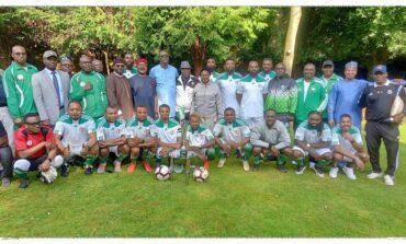 Nigeria's UK high commissioner treats embassy team after they lift diplomatic missions' trophy